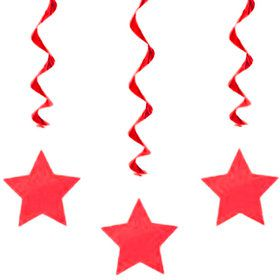 "Red Star 36"" Hanging Swirl Decorations (3 Pack)"