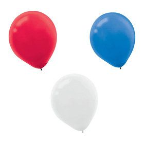"Red, White, and Blue 12"" Latex Balloons (72 Count)"
