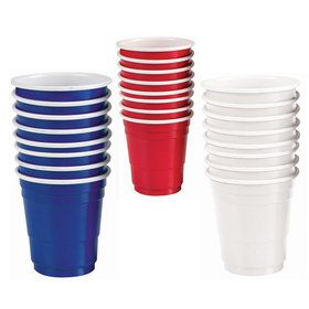 Red, White & Blue Plastic Shot Glasses (24 Count)