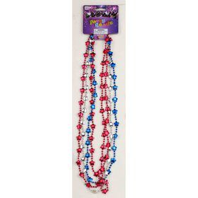 Red, White & Blue Star Metallic Party Beads (4 Count)