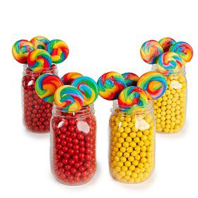 Red Yellow Mason Jar Candy Decor Kit