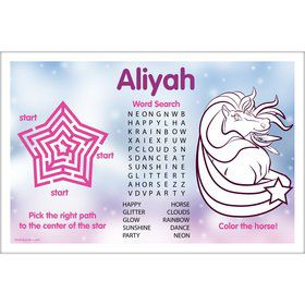 Regal Pony Personalized Activity Mat (8 Pack)