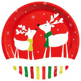 "Reindeer Christmas Party 9"" Dinner Plates"