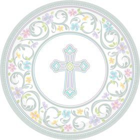 """Religious Party 7"""" Cake Plates (18 Pack)"""