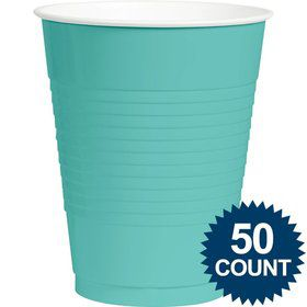 Robins Egg Blue Plastic 16oz. Cups (50 Pack)