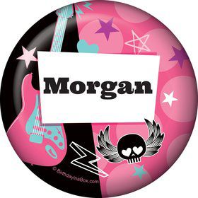 Rock Star Girl Personalized Button (each)