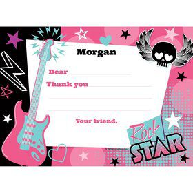 Rock Star Girl Personalized Thank You Note (each)