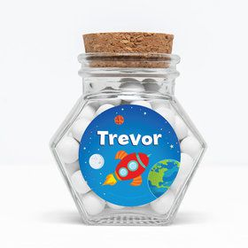 "Rocket to Space Personalized 3"" Glass Hexagon Jars (Set of 12)"