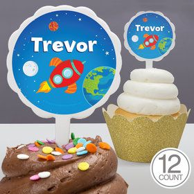 Rocket to Space Personalized Cupcake Picks (12 Count)