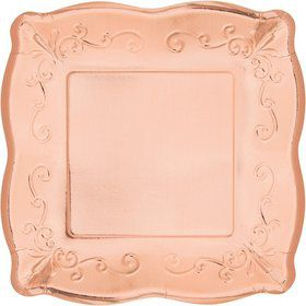 "Rose Gold 7"" Square Plate (8)"