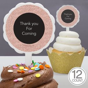 Rose Gold Celebration Personalized Cupcake Picks (12 Count)
