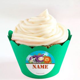 Safari Adventure Personalized Cupcake Wrappers (Set of 24)