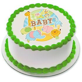 "Safari Baby 7.5"" Round Edible Cake Topper (Each)"