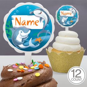 Sharks Personalized Cupcake Picks (12 Count)