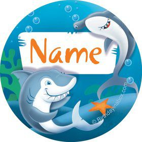 Sharks Personalized Mini Stickers (Sheet of 24)
