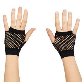 Short Black Mesh Fingerless Gloves