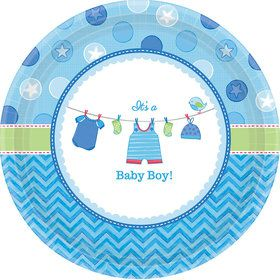 "Shower With Love Baby Boy 10"" Plate (8 Count)"