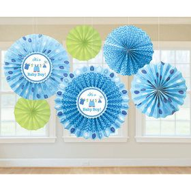 Shower With Love Baby Boy Fan Decorations (6 Count)
