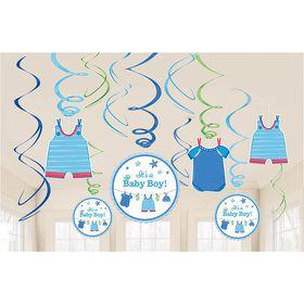 Shower With Love Baby Boy Foil Swirl Decorations (12 Pieces)
