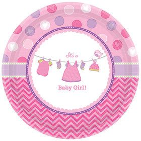 "Shower With Love Baby Girl 7"" Plate (8 Count)"