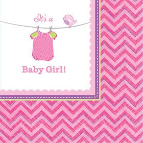 Shower With Love Baby Girl Beverage Napkin (16 Count)