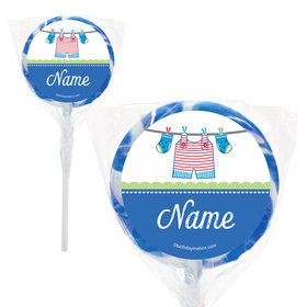 "Shower With Love Blue Personalized 2"" Lollipops (20 Pack)"