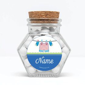 "Shower With Love Blue Personalized 3"" Glass Hexagon Jars (Set of 12)"