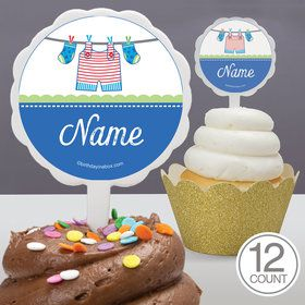 Shower With Love Blue Personalized Cupcake Picks (12 Count)