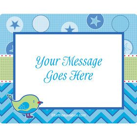 Shower With Love Blue Personalized Rectangular Stickers (Sheet of 15)