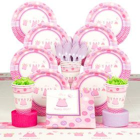 Shower With Love Girl Baby Shower Deluxe Tableware Kit (Serves 8)