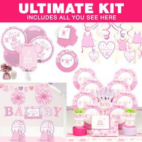 Shower With Love Girl Baby Shower Ultimate Tableware Kit (Serves 8)