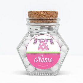 "Shower With Love Pink Personalized 3"" Glass Hexagon Jars (Set of 12)"