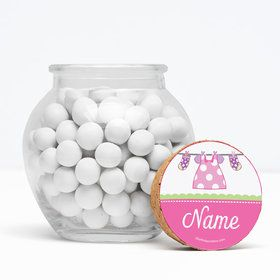 "Shower With Love Pink Personalized 3"" Glass Sphere Jars (Set of 12)"