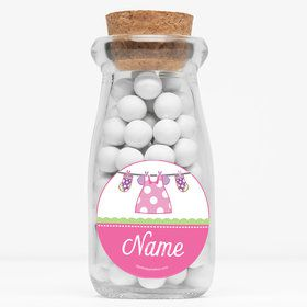 "Shower With Love Pink Personalized 4"" Glass Milk Jars (Set of 12)"