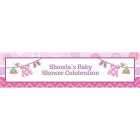 Shower With Love Pink Personalized Banner (Each)