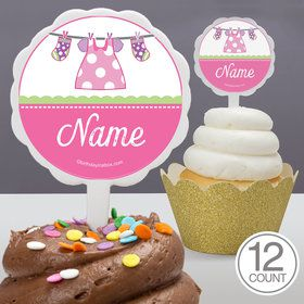 Shower With Love Pink Personalized Cupcake Picks (12 Count)