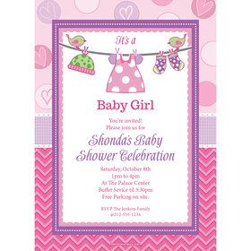 Shower With Love Pink Personalized Invitation (Each)