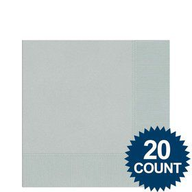 Silver 3-Ply Beverage Napkins, 20 ct.
