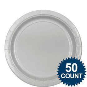 "Silver 9"" Paper Luncheon Plates (50 Pack)"