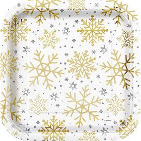 "Silver and Gold Snowflake 9"" Plates (8)"