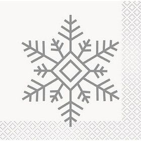 Silver and Gold Snowflake Beverage Napkins (16)