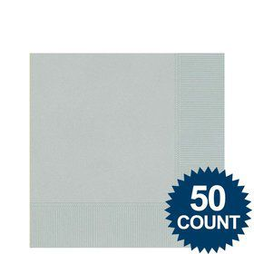 Silver Beverage Napkins (50 Pack)