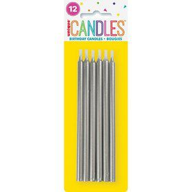 "Silver Birthday Candles 5"" 12ct"