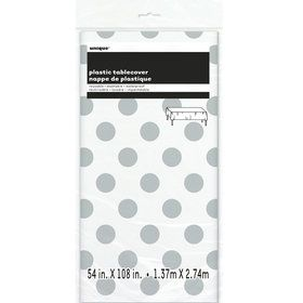 Silver Dots Plastic Tablecover