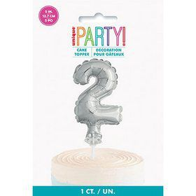 Silver Foil Number 2 Balloon Cake Topper 5