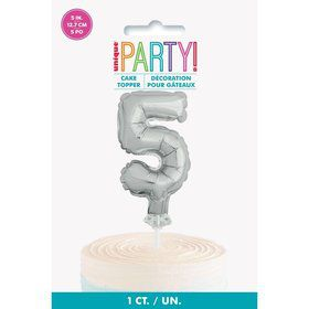 Silver Foil Number 5 Balloon Cake Topper 5