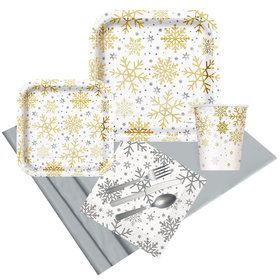 Silver & Gold Holiday Snowflake Party Pack for 8