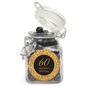 Silver & Gold Personalized Glass Apothecary Jars (12 Count)