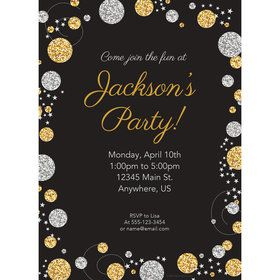 Silver & Gold Personalized Invitation (Each)