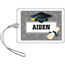 Silver Grad Personalized Bag Tag (Each)